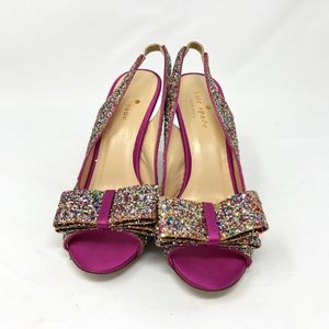 Kate Spade Magenta Glitter Charm Heels 6.5
